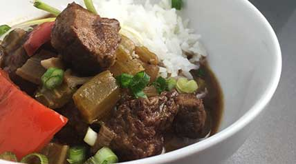 Served with rice, garnished with green onions and hot sauce, this Cajun-inspired dish is an excellent way to enjoy venison.