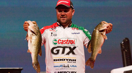 Hitting more than three dozen different spots during the day, FLW Tour pro David Dudley bolted out of the starting gates on Thursday to grab the Day One lead of the 2014 Forrest Wood Cup on South Carolina's Lake Murray.