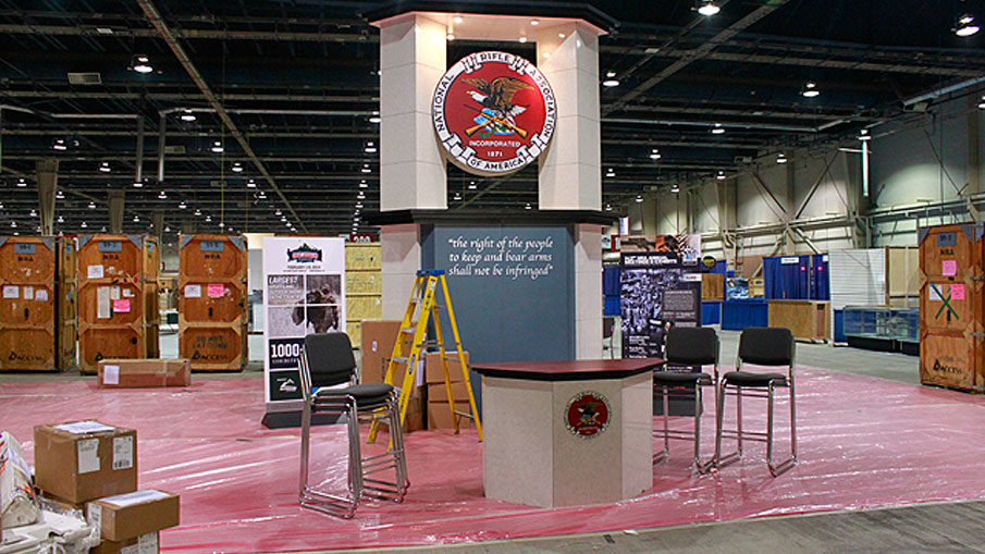 Setting up for the Great American Outdoor Show