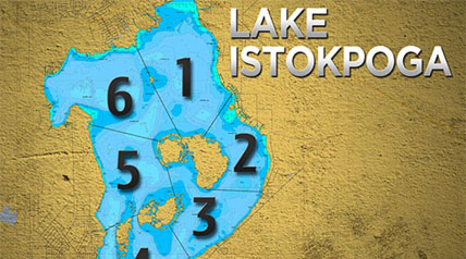 Lake Istokpoga is a 28,000-acre freshwater lake. The oblong-shaped lake is five miles wide by 10 miles long. Despite its area, it is very shallow, with an average depth of only four feet.