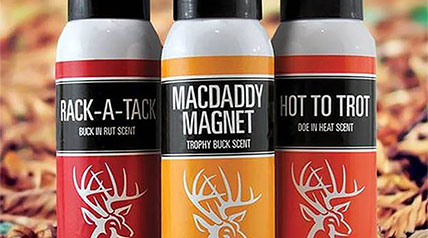 Synthetic deer scents offered in three proprietary formulated deer attractants packaged in 4-ounce cans.