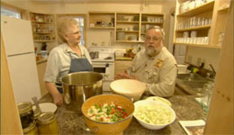 Rick Browne and local cookbook author Ester Clowater-Sarchfield cook mustard pickles.