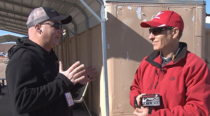 OSG senior digital editor Lynn Burkhead was all ears as Steve Nelson of Winchester Ammunition talked about the new Winchester Xtended Range Bismuth turkey load at Industry Day at the Range prior to the start of SHOT Show 2018.