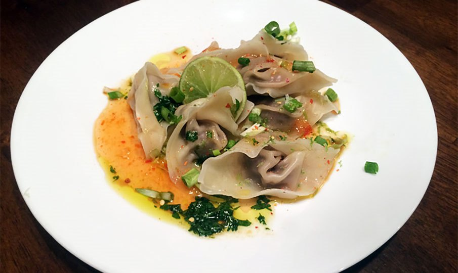 Duck Wontons with Cilantro Lime Dressing (Recipe)