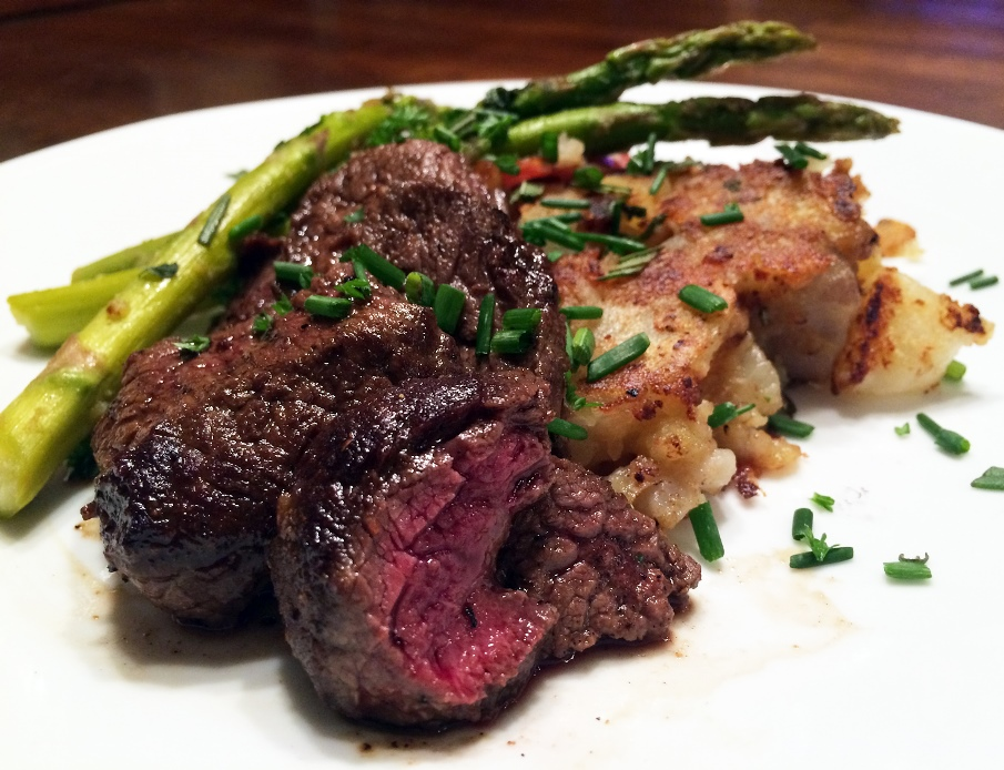 Pan-Seared Elk Venison With Rosemary Smashed Potatoes Recipe