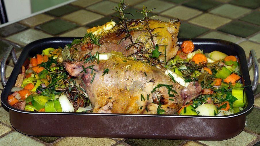 Roasted Pheasant Recipe with Bacon and Vegetables