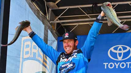 Jacob Wheeler,23, chose the road less traveled and it led to victory in the inaugural Bassmaster BASSfest event. He caught 90 pounds, 6 ounces over four days on Chickamauga Lake to top the 140 others and win $125,000 and a berth into the Bassmaster Classic.