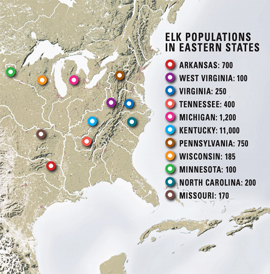 Eastern elk population map