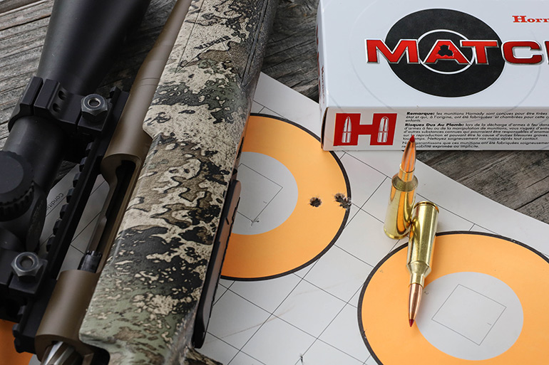 Mossberg Patriot Predator group on target with Hornady Match