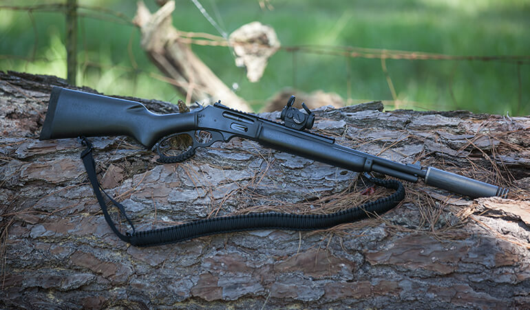 Lever-Action Rifle with Red Dot Sights