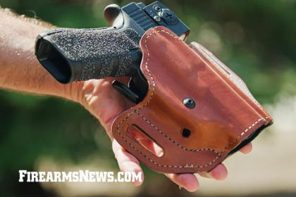 The leather Bianchi 126GLS Assent holster with multi-fit capability and proprietary Grip Locking System is available in six sizes to fit more than 250 firearms.