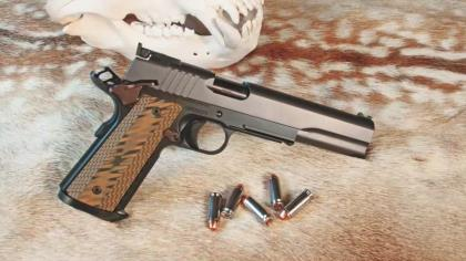 The Kodiak is a long slide 1911-style semi-auto complete with 6-inch bull barrels and chambered in 10mm.