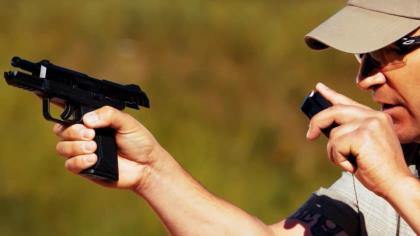 Richard is out at the range demonstrating how to perform a smooth and efficient slide-lock reload when shooting your handgun.