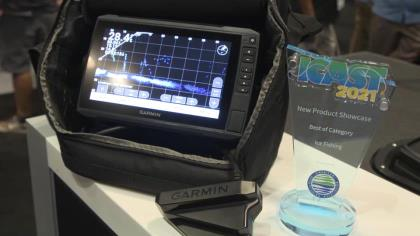 The ultimate bundle for ice fishing includes Garmin's Panoptix LiveScope sonar technology with forward and down scanning modes, and a new long-lasting lightweight lithium-ion battery. Garmin's Danny Thompson highlight the features with In-Fisherman's Rob Neumann at ICAST 2021 in Orlando.