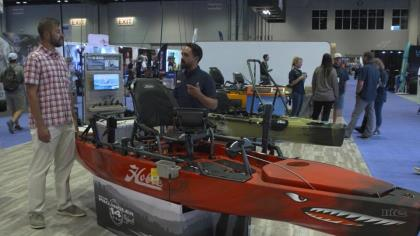 Howie Strech highlights the amazing features of Hobie's 'Ike' signature fishing kayak, named for the famed pro bass angler. With Game & Fish's Adam Heggenstaller at ICAST 2021 in Orlando.