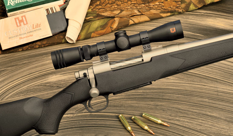 The newest model is the Mossberg Patriot Synthetic Cerakote version in six cartridges from 6.5 Creedmoor to .30-06 Springfield.