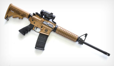With the Davidson's Ruger AR-556 you get a reliable rifle with a few special features, including the Dark Earth color scheme.