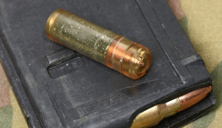 While cased telescoped ammo offers a number of benefits compared to metallic cartridges, its chief attribute is a substantial reduction in weight, approximately 40 percent.