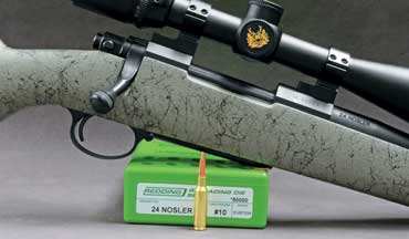 Created to fit in an AR-15 magazine, this short 6mm cartridge pushes 55-grain bullets to a muzzle velocity of 3,424 fps.