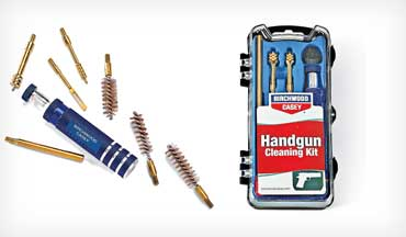Countless products are available for making the chore more palatable, and one of the newest is the handy Handgun Cleaning Kit from Birchwood Casey.