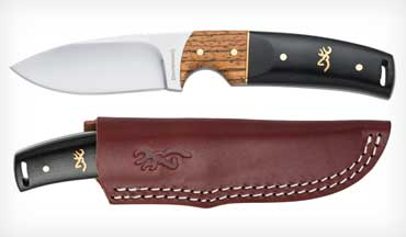 The Browning Buckmark Hunter is a sturdy drop-point type with the Browning Buckmark set into the two-tone hardwood handle.