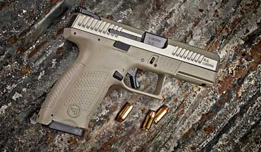 CZ-USA's rugged P-10 C striker-fired auto pistol now comes with an FDE frame and a White Nitride slide.