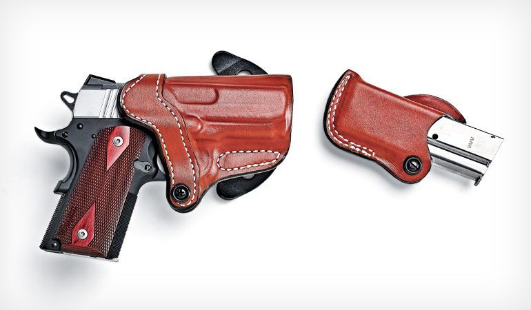 The DeSantis Top Cop 2.0 holster, which is one of the company's top-selling holsters, features an adjustable tension device and a reinforced opening for easy one-hand holstering. The leather is molded to flawless detail. The rugged polymer paddle is adjustable for cant, and it locks down securely.