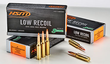 "HSM Ammunition has just released another new 6.5 Creedmoor loading. It's called ""Low Recoil,"" and the company says it produces from 47 percent to 53 percent less felt recoil."