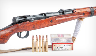 Type 99 Arisaka battle rifles utilize a unique, disc-shaped safety, and their stocks were finished with the resin of the urushi tree. Joseph's rifle is chambered for the 7.7x58mm Japanese round.