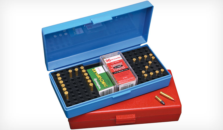 The MTM SB-200 Ammo Box can hold up to 250 rounds of .22 LR ammo.