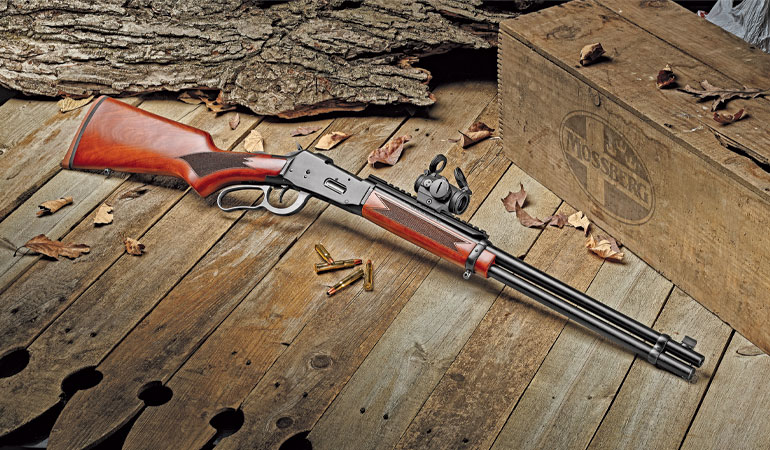 Fitted with an Aimpoint Micro H-2 red-dot optic via XS Sights's Lever Scout scope rail, the Mossberg 464 lever action is a slick, sleek, and sprightly hunting rifle.