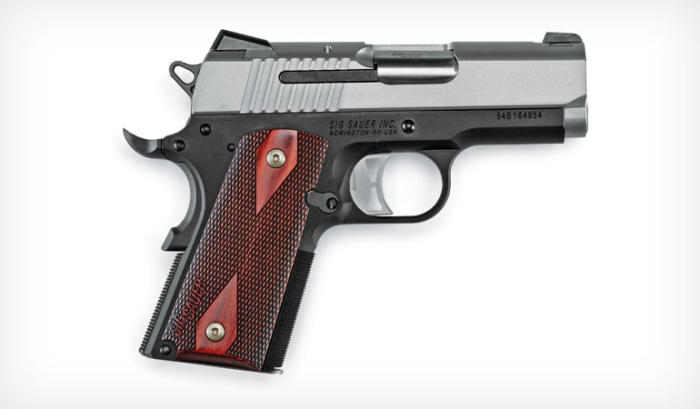 The 1911 Ultra Compact pistol from SIG SAUER is offered in .45 ACP and 9mm with an all-black nitride finish and blackwood grips, with a nickel PVD finish and G10 grips, or with a two-tone finish and rosewood grips.