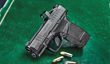 The Springfield Hellcat is also available in the OSP (Optical Sight Pistol) version, which has the same open sights as the standard model but a 0.190-inch-deep mortise machined into the top of the slide is a snug fit for a micro red-dot sight. It comes with a removable steel plate that fills the mortise, giving the user the option of using the gun with or without a red-dot sight. Embedding the optic allows the open sights to be viewed without having to make them uncommonly tall.