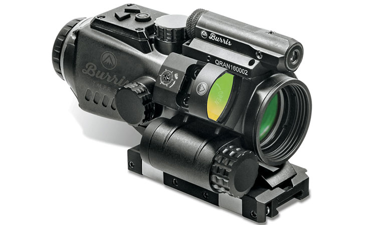 The Tri Modular Prism Riflescopefrom Burris is a low-profile, 2.5-milliwatt aiming laser that's adjustable for windage and elevation.