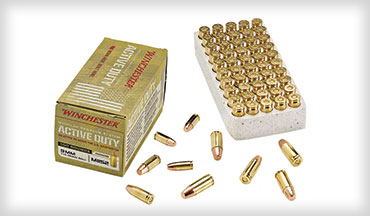 The new Winchester Active Duty 9mm ammo is loaded to the same military ballistics specifications as for the MHS program and has a rated muzzle velocity of 1,320 fps and a muzzle energy of 445 ft-lbs.