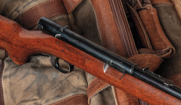 Fed by a 14-round magazine in the buttstock, the Winchester Model 74 features a top-side crossbolt safety.