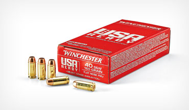 Winchester's new semiautomatic pistol ammo, named USA Ready, is currently offered in 9mm Luger, .40 S&W, and .45 ACP.
