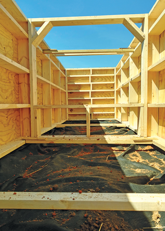 inside of wooden pit blind during construction