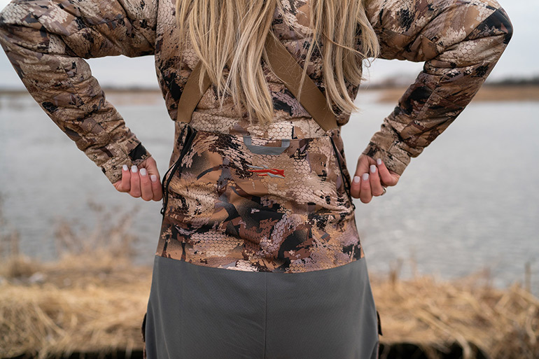 Drop seat on Sitka bibs