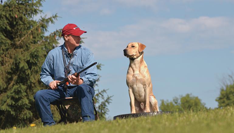 waterfowl hunter holding gun while training lab