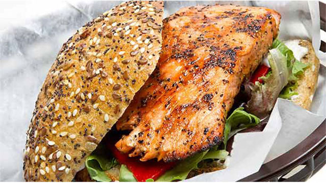 Grilled Salmon Sandwich with Homemade Teriyaki Sauce