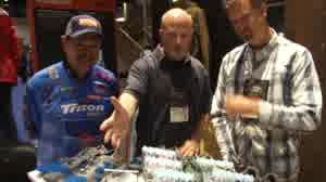 Lynn Burkhead talks with professional bass angler Shaw Grigsby and Rich Hohne about some of latest products from Simms and all of the 'Best of Show' awards won at ICAST and IFTD 2015.