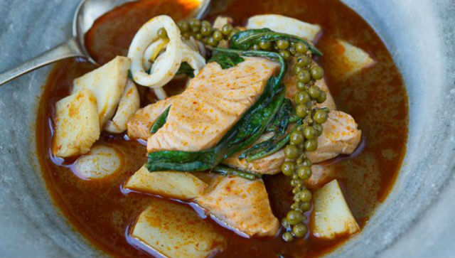 Braised Salmon and Squid with Green Peppercorns, Lychee and Jungle Curry