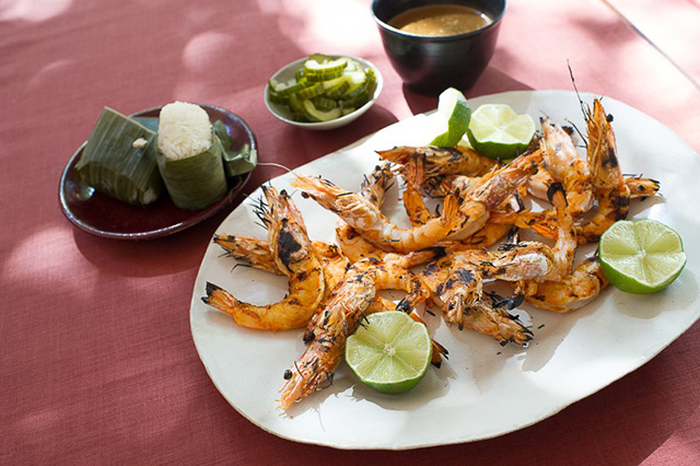 Grilled Prawns with Phuket Black Pepper Sauce, Pickled Cucumber and Sticky Rice