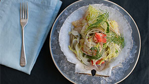 Scallops, prawns, and crab atop the delicate curly frisée leaves, punctuated with the tangy citrus of blood oranges and the subtle sweetness of fennel make this salad a delicious meal fit for guests.