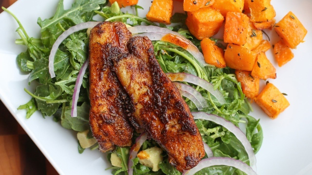 Blackened Drum with Avocado Salad and Roasted Squash
