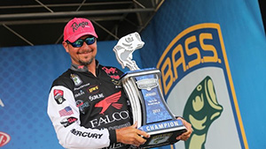 Oklahoma pro bass angler Jason Christie hauled in 22 pounds of smallmouth on the final day to win the first place, blue Elite Series trophy.