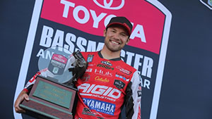 Brandon Palaniuk of Hayden, Idaho, won the 2017 Bassmaster Angler of the Year title at Mille Lacs Lake held out of Onamia, Minn., Sunday.