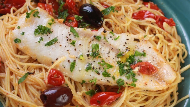 walleye over tomato olive angel hair pasta