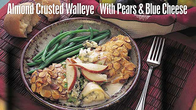 almond crusted walleye with pears blue cheese recipe